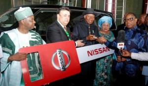 Nissa Made in Nigeria on dusplay with GEJ