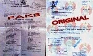 APC EFCC FAKE AND ORIGINAL LETTERS