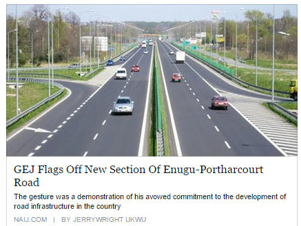 GEJ Flags Off New Section Of Enugu-Portharcourt Road